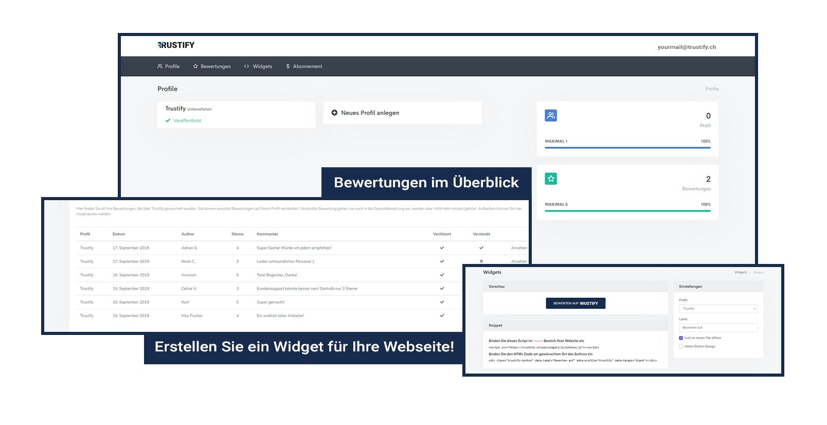 Desktop Preview of Trustify Dashboard